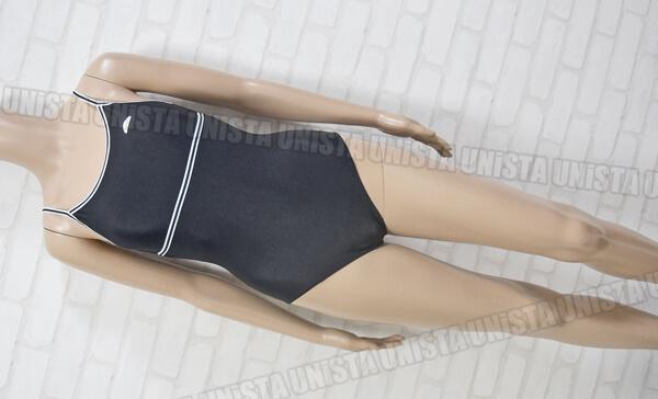 ellesse エレッセ ES5500EP 白パイピングワンピース水着・女子競泳水着 ブラック