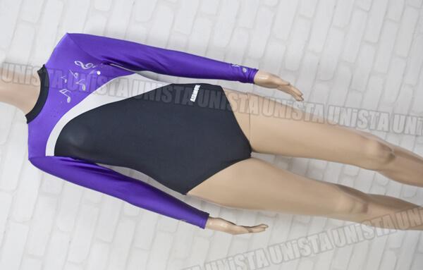 AIRMOVE エアムーブ 女子体操競技 ロングスリーブレオタード 音符柄 ブラック・パープル