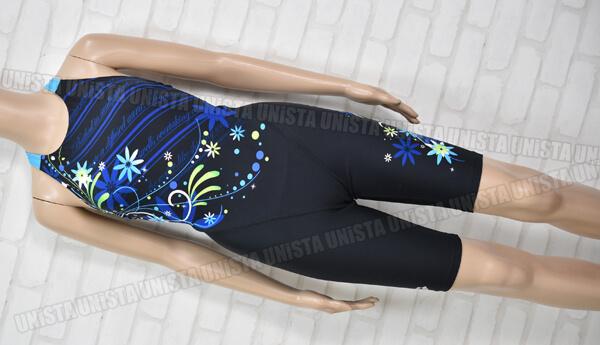 ARENA アリーナ FSA-5624W TOUGHSUIT タフスキン 着やストラップ ハーフスパッツ女子競泳水着 ブラック・ライトブルー