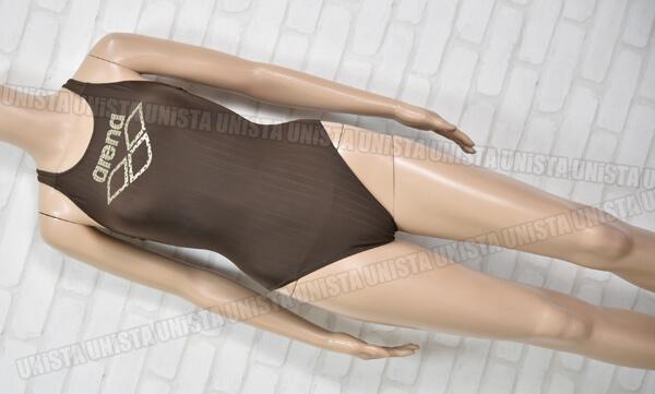 ARENA アリーナ STRUSH ストラッシュ ハイカット女子競泳水着 ブラウン・ゴールド