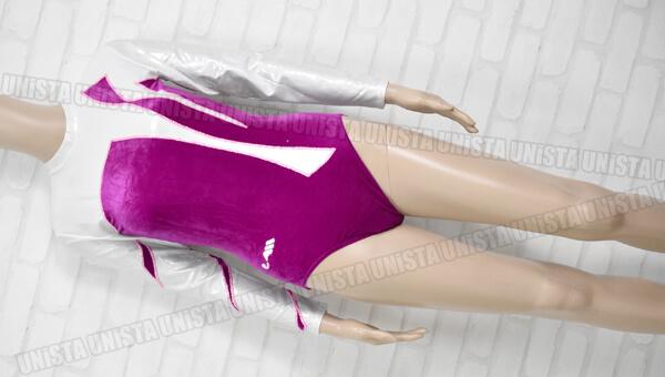 Christian MOREAU クリスチャンモロー 女子体操競技 ロングスリーブレオタード シルバー・パープル