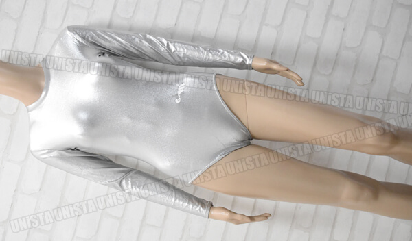 Christian MOREAU クリスチャンモロー ツルテカ素材 女子体操競技 ロングスリーブレオタード 無地 シルバー