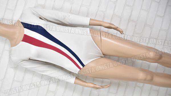 NAIGAI ナイガイ 女子体操競技 ロングスリーブレオタード トリコロール ホワイト