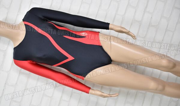 SASAKI ササキスポーツ 女子体操競技 ロングスリーブレオタード ブラック・レッド