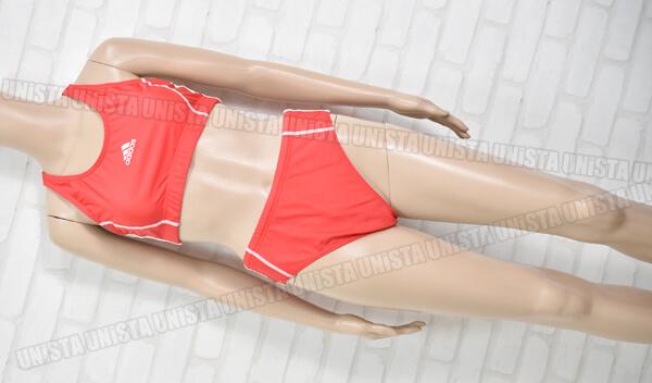 adidas アディダス 女子陸上レーシングブラ・ブルマー 上下セット レッド・ホワイト