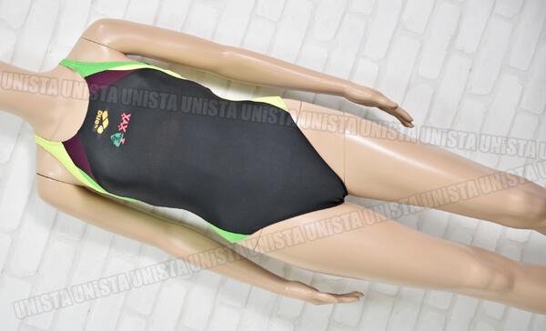 ARENA アリーナ 8019W ビッグツリースポーツクラブ指定 女子競泳水着 ブラック・蛍光グリーン