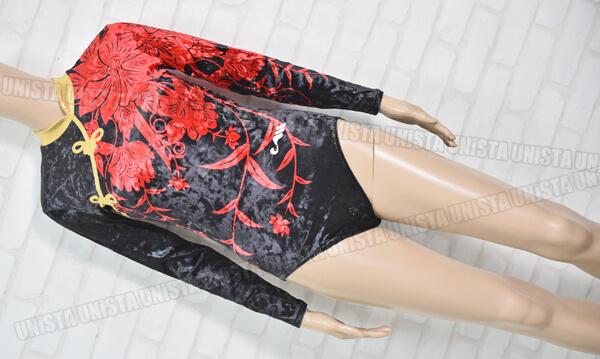 Christian MOREAU クリスチャンモロー 女子体操競技 ロングスリーブレオタード ブラック・レッド