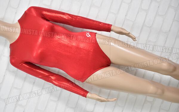 GK ELITE 女子体操競技 ロングスリーブレオタード レッド