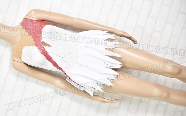 GYMSKAB 女子フィギュアスケート 競技用 ノースリーブレオタード ベージュ・ホワイト