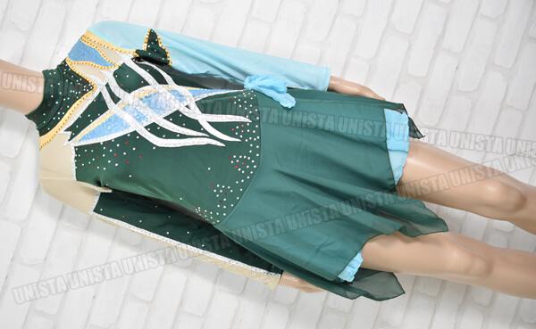 ICEFAIRY アイスフェアリー 女子フィギュアスケート 競技用 ロングスリーブレオタード グリーン・ライトブルー