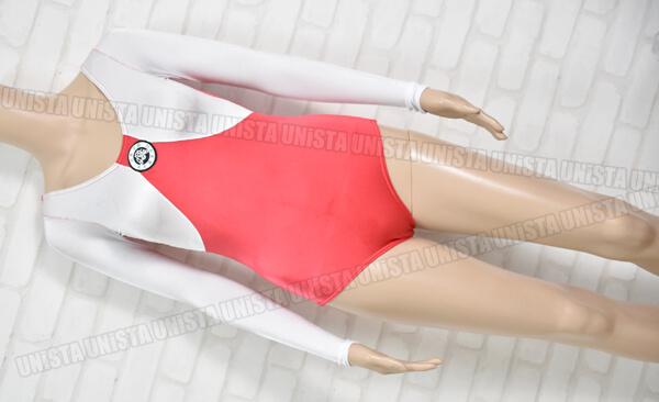 NON 女子体操競技 目黒学園女子 ロングスリーブレオタード ホワイト・レッド