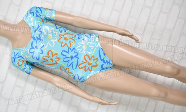 ヒロモード企画 女子体操競技 半袖レオタード 花柄 ライトブルー