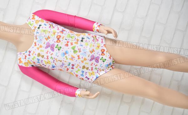 AIRMOVE エアムーブ 女子体操競技 ロングスリーブレオタード ピンク・ホワイト バタフライ柄