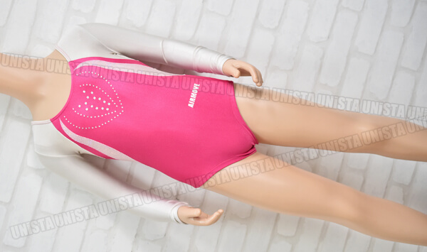 AIRMOVE エアムーブ 女子体操競技 ロングスリーブレオタード ピンク・オフホワイト