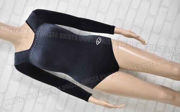 THE ZONE ゾーン 女子体操競技 ロングスリーブレオタード ベロア ブラック