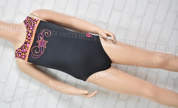 GK ELITE 女子体操競技 ノースリーブレオタード ブラック・オレンジ スター柄