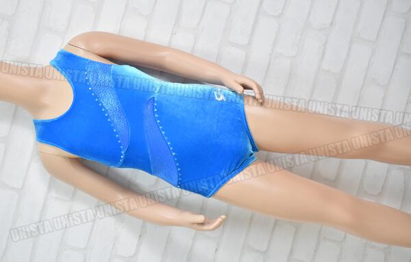 GK ELITE 女子体操競技 ノースリーブレオタード ライトブルー ベロア
