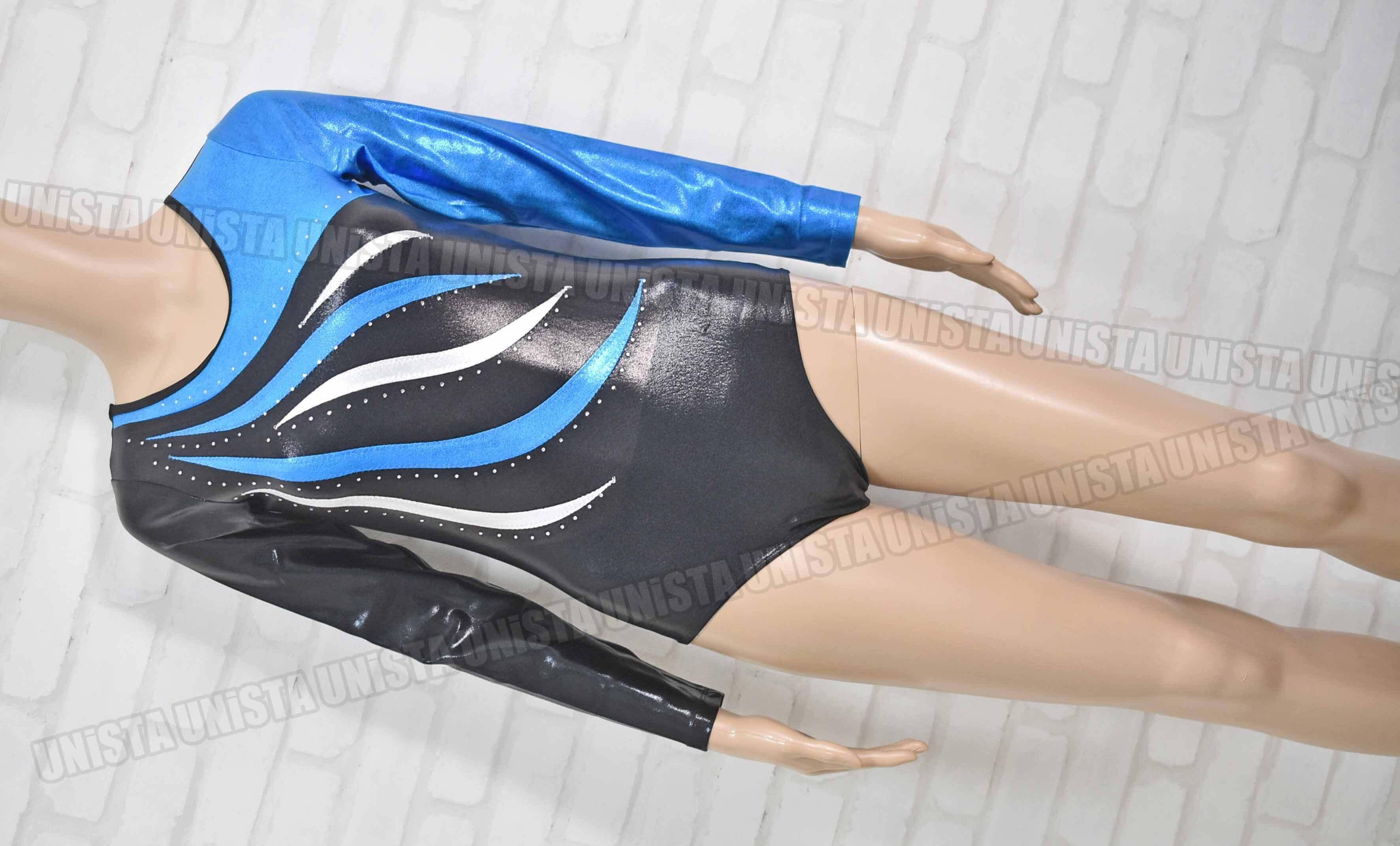 NON オリジナルデザイン 女子体操競技 ロングスリーブレオタード ブルー・ブラック
