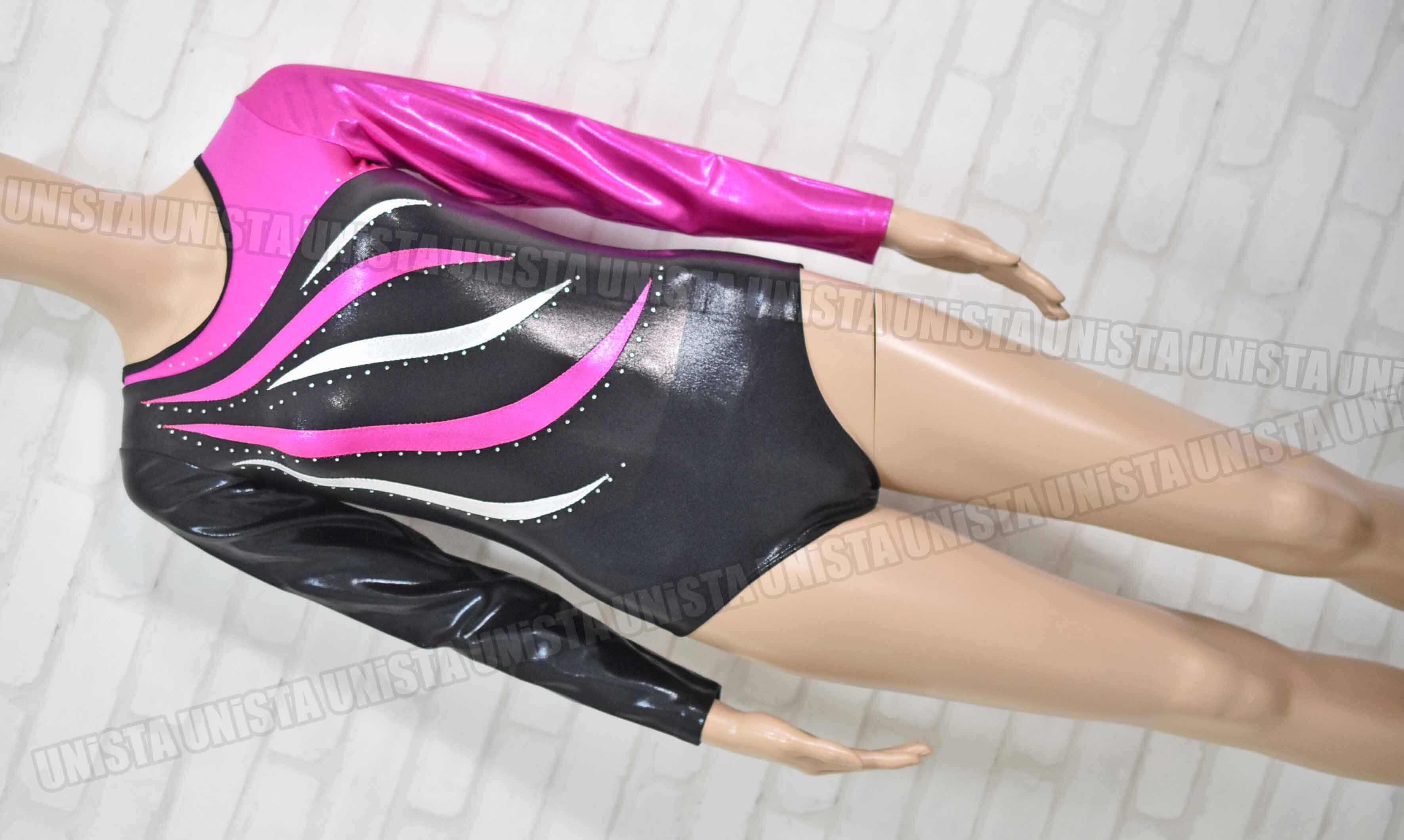 NON オリジナルデザイン 女子体操競技 ロングスリーブレオタード ピンク・ブラック