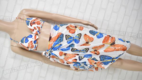 SHEQI ワイヤービキニ レディース水着・リゾート水着 パレオ付属 ホワイト・オレンジ 蝶柄