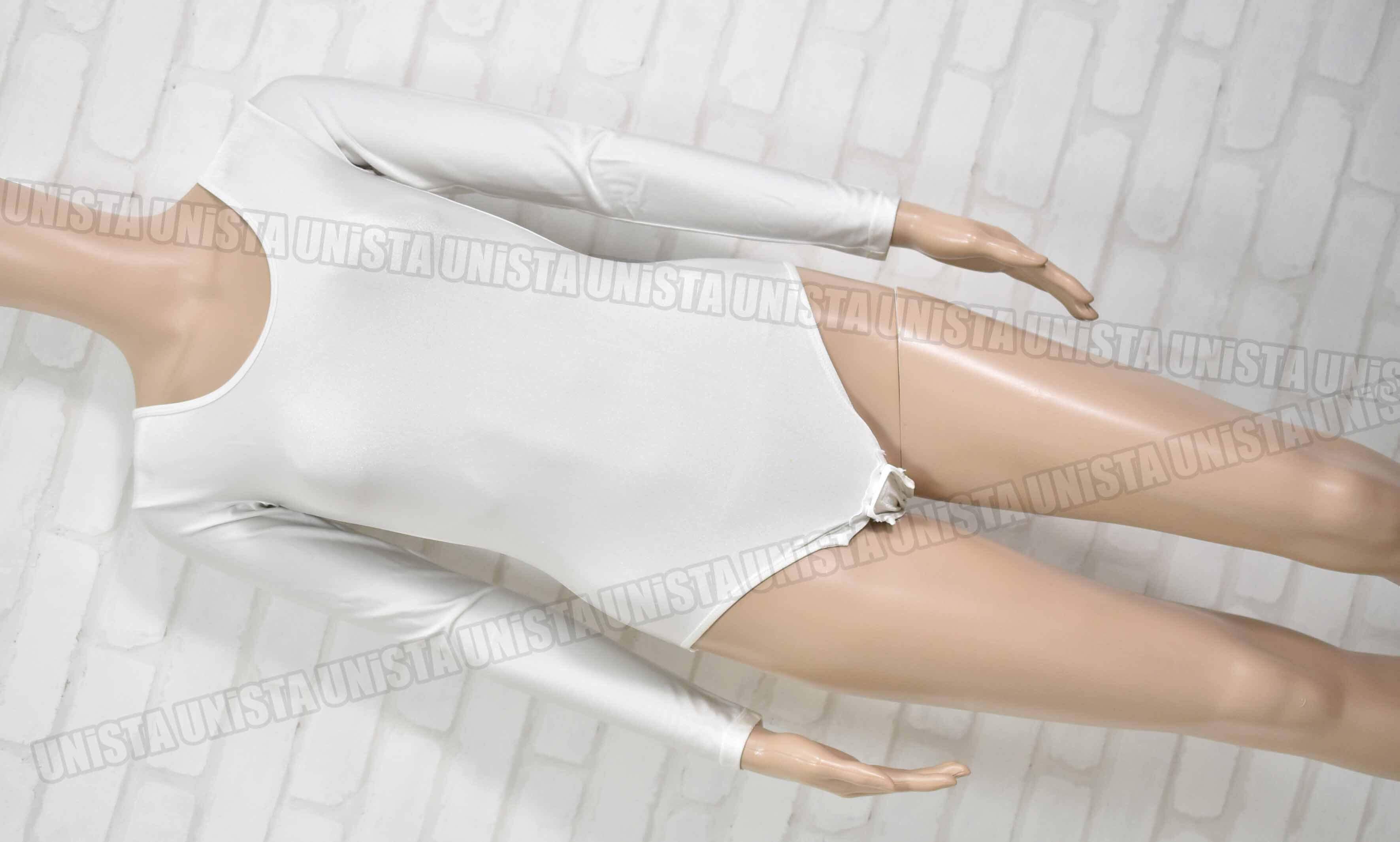 mituri ミトゥリ 女子バレエ・ダンス クロッチホック型 ロングスリーブレオタード 無地 ホワイト