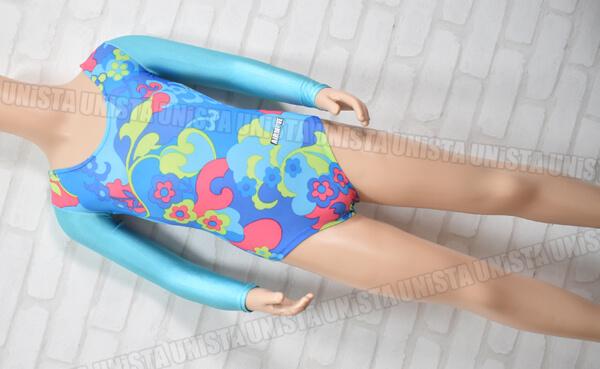 AIRMOVE エアムーブ 女子体操競技 ロングスリーブレオタード 花柄 ブルー・ライトブルー