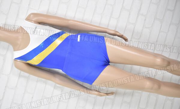 AIRMOVE エアムーブ 女子体操競技 ノースリーブレオタード ホワイト・ブルー スパッツ付属