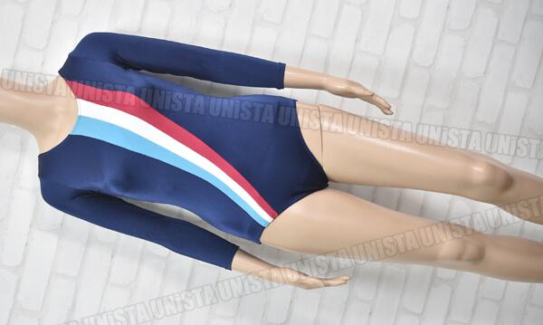 NAIGAI ナイガイ 女子体操・バレエ・ダンス ロングスリーブレオタード トリコロール柄・ネイビー