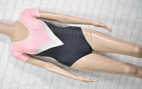 SASAKI ササキスポーツ 女子体操競技 Vネック 半袖レオタード ピンク・ブラック