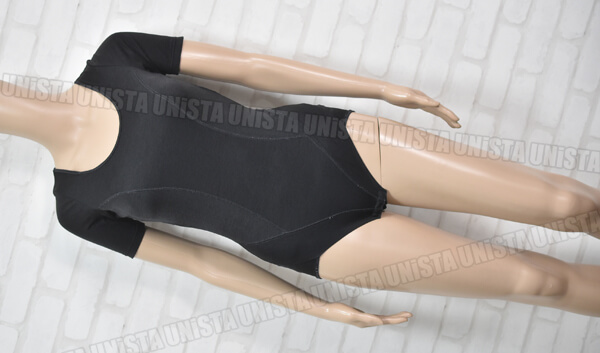 aqua アクア 女子バレエ・ダンス 胸パット入り クロッチホック型 半袖レオタード 無地 ブラック