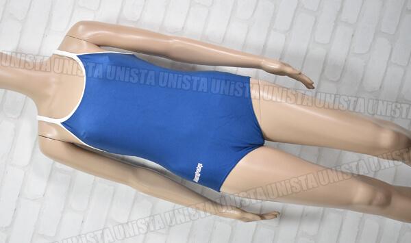 ユニチカメイト ARROWLINE 白パイピングワンピース水着・女子競泳水着 ネイビー