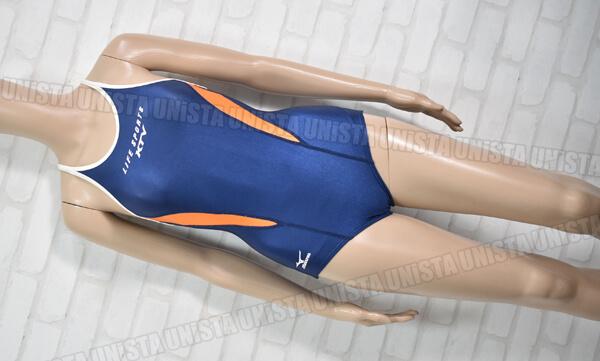 MIZUNO ミズノ LIFE SPORTS KTV 関西TVライフフィットネス指定 T-バック 白パイピングワンピース水着・女子競泳水着 ネイビー