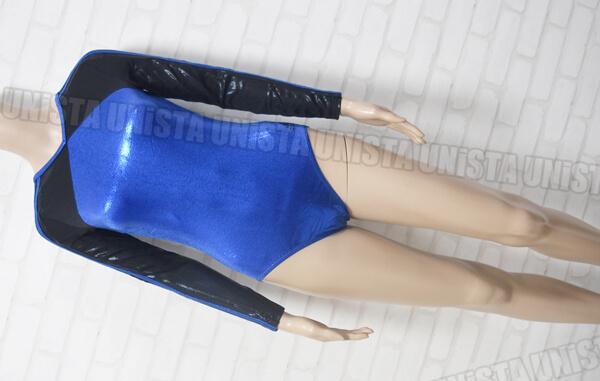 adidas アディダス AS505 3STRIPES 女子体操競技 ロングスリーブレオタード ブルー・ブラック