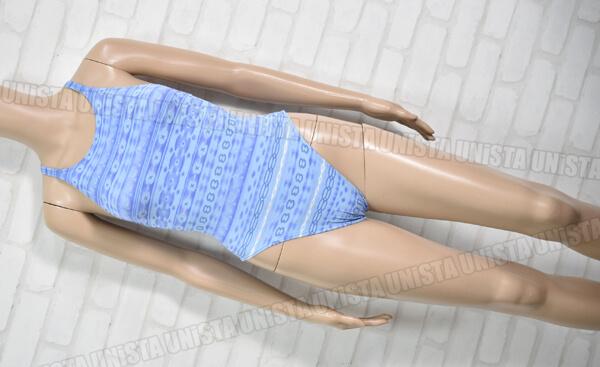 SPEEDO スピード リーオスペック ハイカット女子競泳水着 総柄 ライトブルー