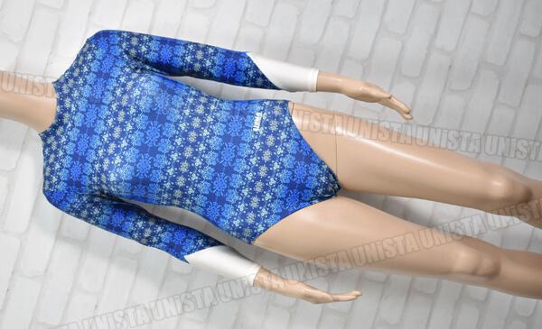 AIRMOVE エアムーブ 女子体操競技 ロングスリーブレオタード ダマスク柄 ブルー・ホワイト