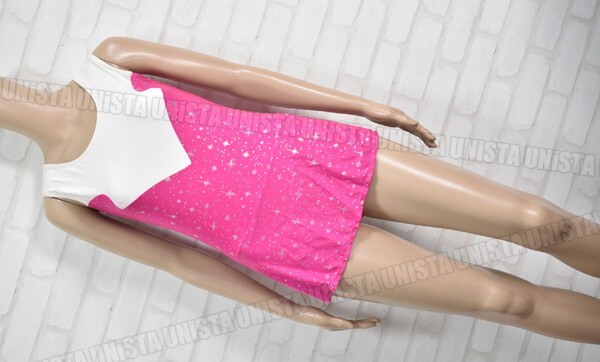 Jemoelle ジュモエルカンパニー オーダーメイド 女子新体操競技 ノースリーブレオタード ピンク・ホワイト