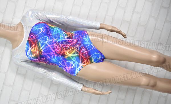 NON オリジナルデザイン 女子体操競技 ロングスリーブレオタード ラメ加工 ブルー・シルバー