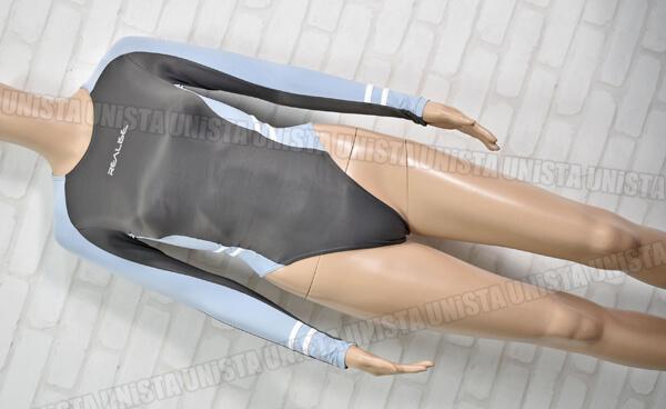 REALISE リアライズ T-015 ロングスリーブ ハイレグ レオタード 長袖競泳水着コスチューム グレー・ブルー
