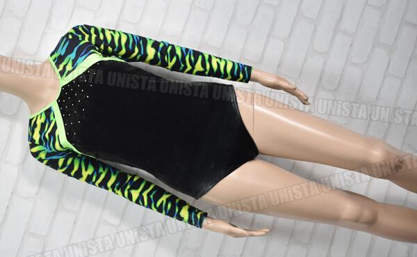 NON オリジナルデザイン 女子体操競技 ノースリーブレオタード ブラック・グリーン