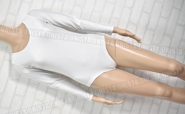 wundou P520 女子体操競技 ロングスリーブレオタード 無地 ホワイト