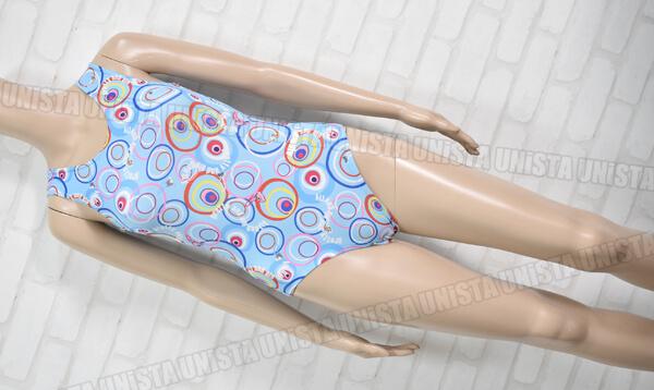 AIRMOVE エアムーブ 女子体操競技 ノースリーブレオタード 総柄 ライトブルー