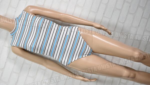 AIRMOVE エアムーブ 女子体操競技 ノースリーブレオタード ボーダー柄 ブルー・ホワイト