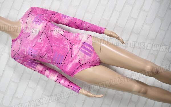 Christian MOREAU クリスチャンモロー 女子体操競技 ロングスリーブレオタード 総柄 ピンク