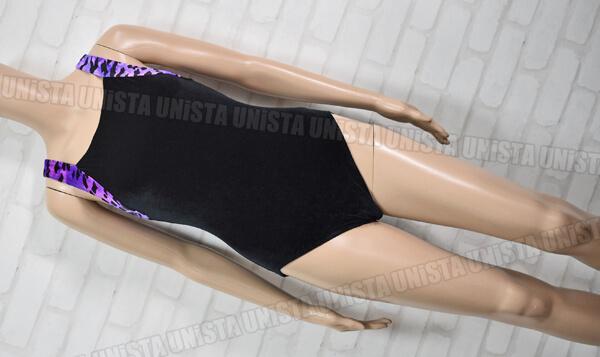 GymDivas 女子体操競技 ノースリーブレオタード ベロア ブラック・パープル