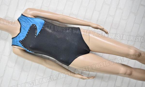 NON オリジナルデザイン 女子体操競技 ノースリーブレオタード ブルー・ブラック