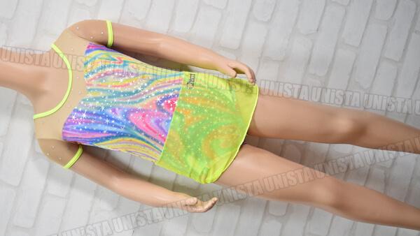 Chacott チャコット NO.5383-10014 スカート一体型 新体操競技 半袖レオタード 蛍光イエロー