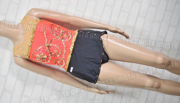SASAKI ササキスポーツ 女子新体操競技 ノースリーブレオタード オレンジ・ブラック