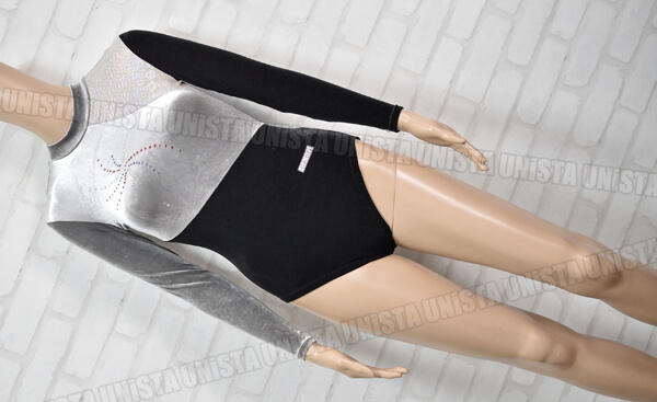 AIRMOVE エアムーブ 女子体操競技 ロングスリーブレオタード ベロア グレー・ブラック