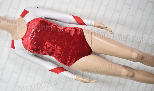 AIRMOVE エアムーブ 女子体操競技 ロングスリーブレオタード ベロア切替 ホワイト・レッド