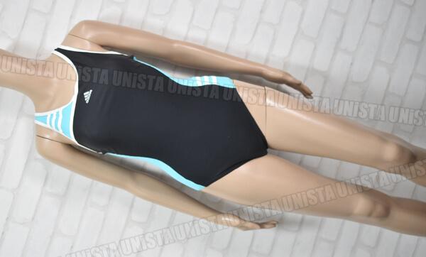 adidas アディダス AAR003 3STRIPE XOバック型 女子競泳水着 ブラック・ライトブルー